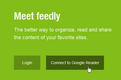 feedly importer fra google reader knap